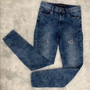 {Express} High Rise Acid Wash Legging Jean
